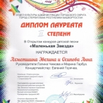 Участие в открытом конкурсе детской песни Маленькая звезда  (2)